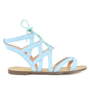 Women's Blue Gladiator Laser Cut Flat Sandal